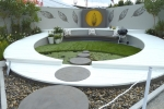 Northern Sydney Institute Ryde's beautiful circular garden featured a crisp white deck, still pond, hebel stepping stones & well-chosen wall art