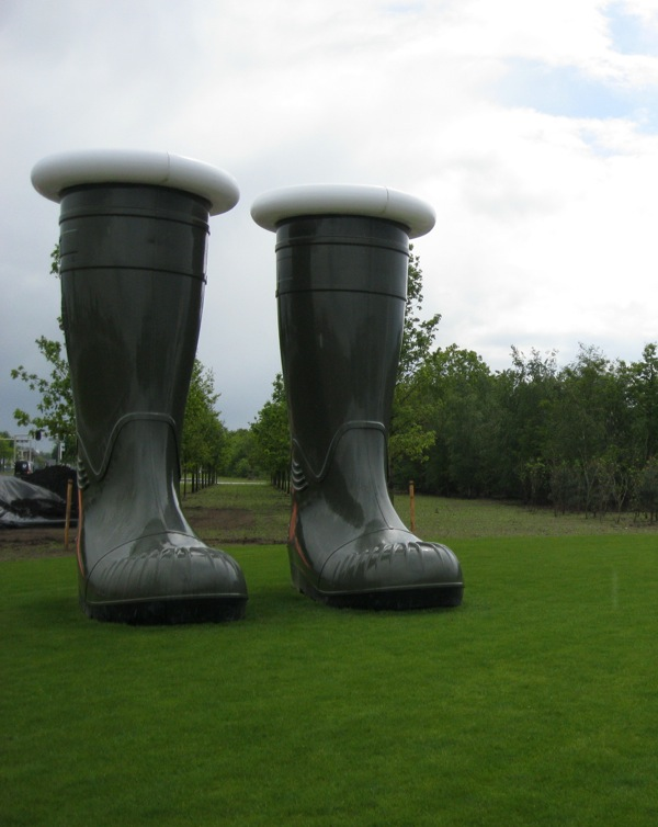 A giant pair of gumboots greets you on arrival