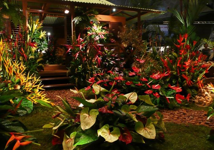 Green Fantasy Garden with tropical blooms