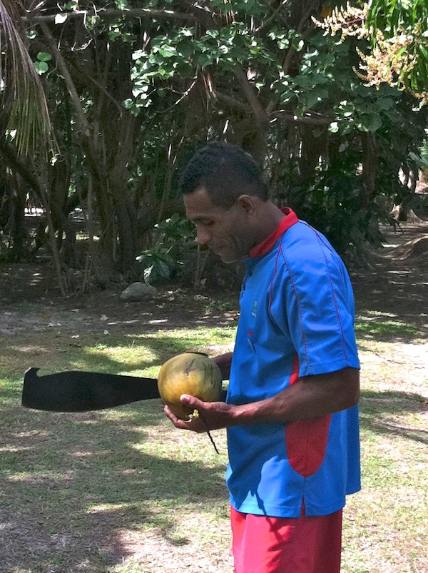 Fijian man with coconut machete