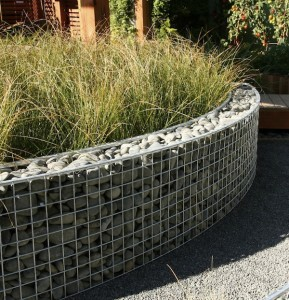 Design Carl Pickens Ellerslie NZ 2009 Gabions filled with graywacke pebbles