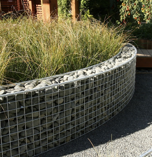 design carl pickens ellerslie nz 2009 gabions filled with graywacke pebbles - Gabion Walls Design