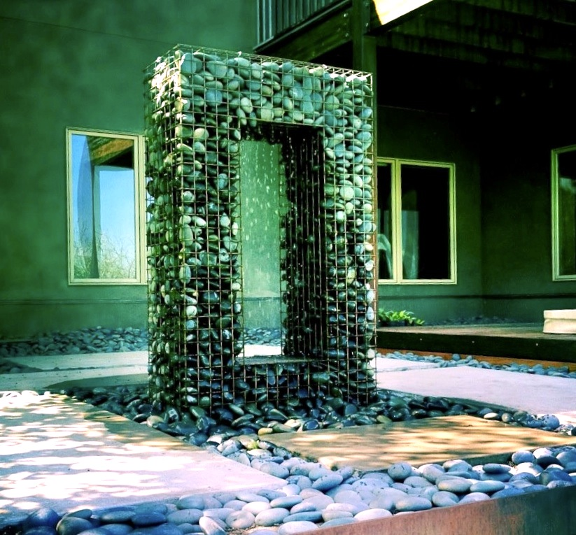Gabion fountain by Ore Containers, Utah