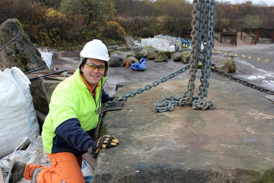 Phillip Johnson putting together the Australian gorge with Scottish rocks