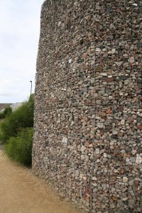 Tall gabion wall at Ballast Point Park, Sydney