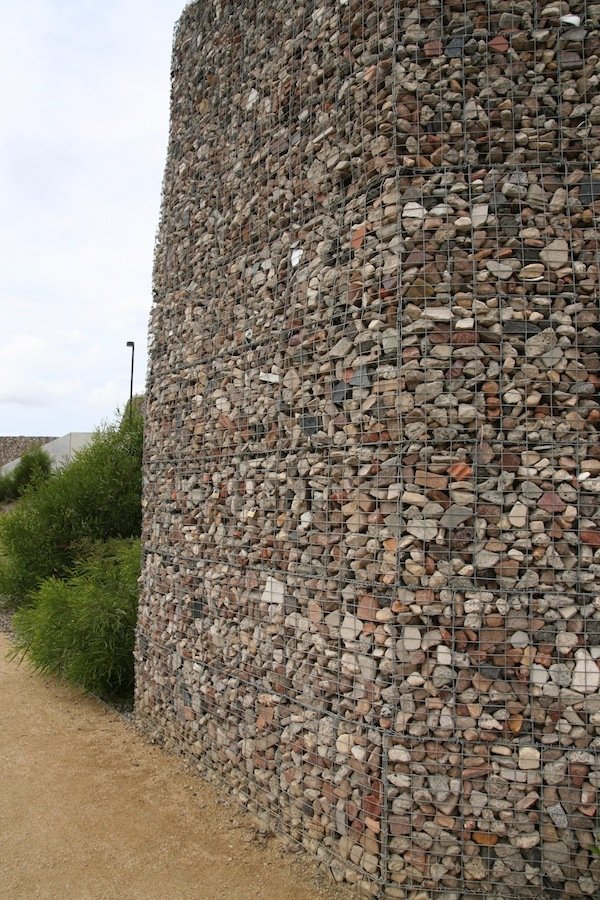 tall gabion wall at ballast point park sydney
