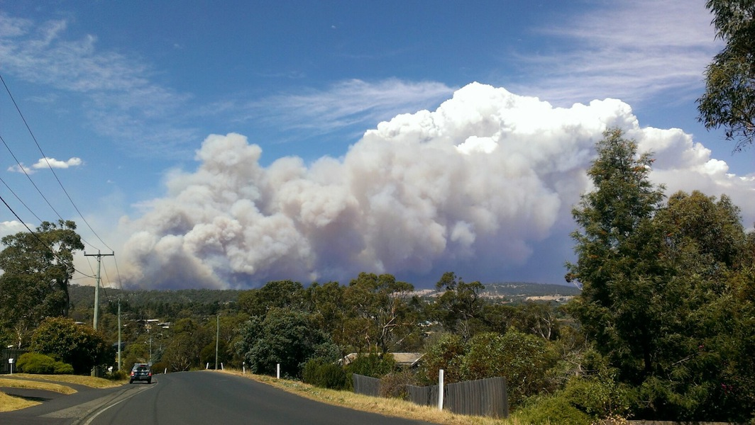View of the Dunalley fire from my street