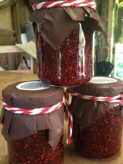 Freshly made raspberry jam