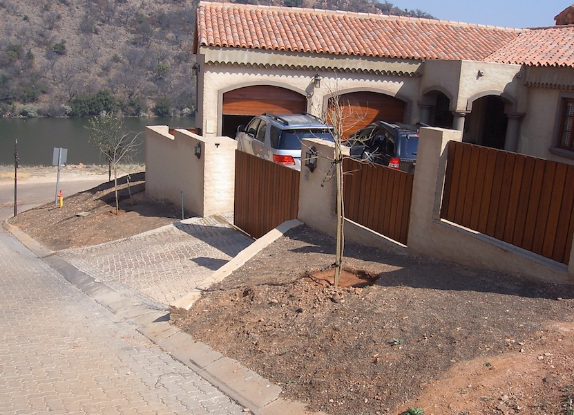 Steep slope around the driveway entrance
