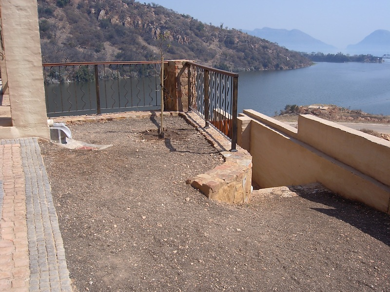 Patio are with views to the dam