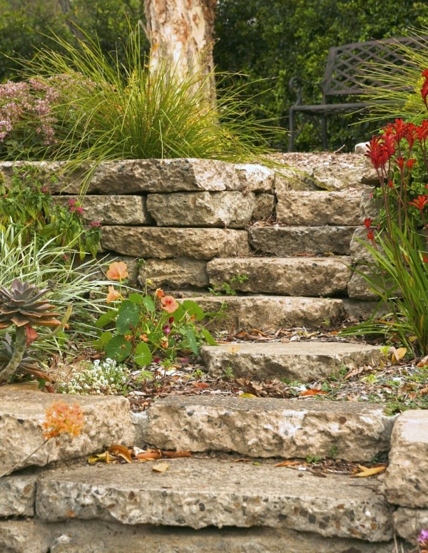Reused concrete slabs to form the garden steps