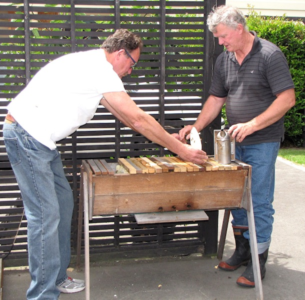 Backyard beekeeper Mike Crosby (left) and Dennis Crowley, president of the local beekeepers' association, open a topbar hive