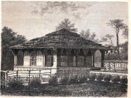 Drawing of pavilion at Shalimar Bagh, 1870.