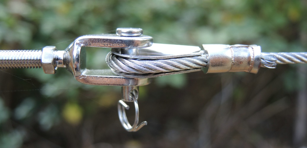 Swaged eyelet attached to jaw jaw rigging screw with pin