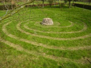 Meadow labyrinth postcard
