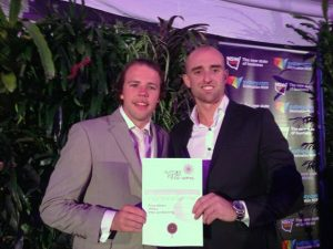Receiving a Silver Award - with Dave Hill from Tida Lighting