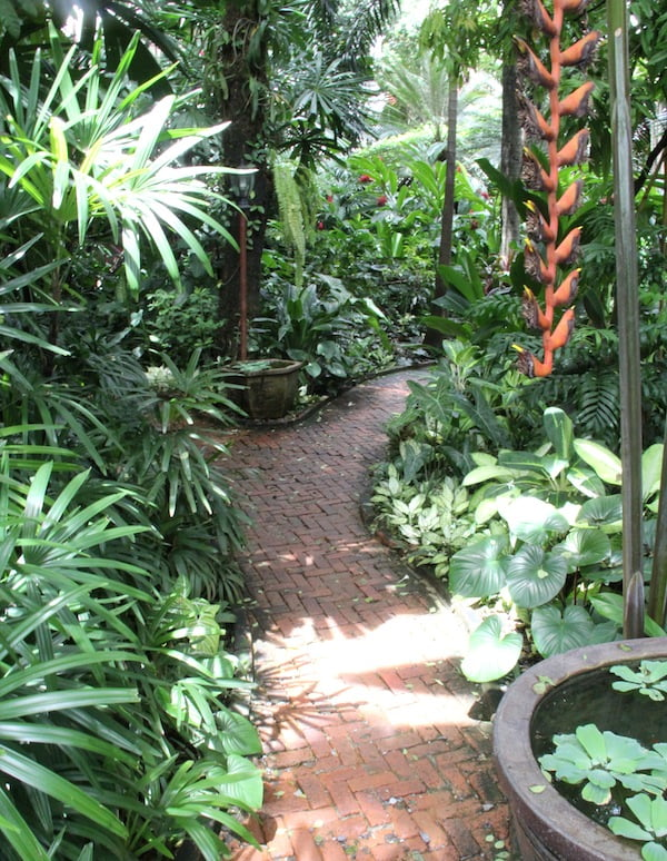 A path leads into the garden