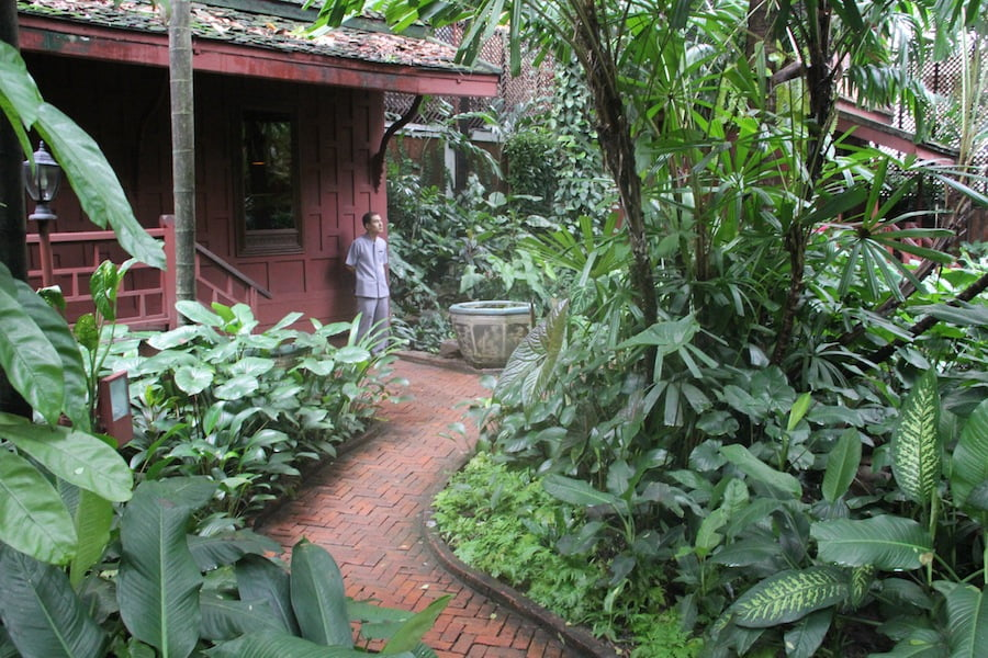 Brick paths wind through the jungle