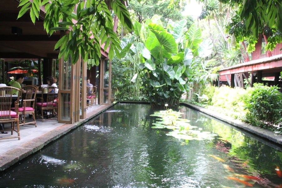 Finish your tour at the cafe beside the koi pond
