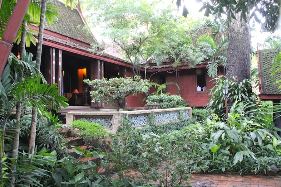 The terrace area overlooks the klong