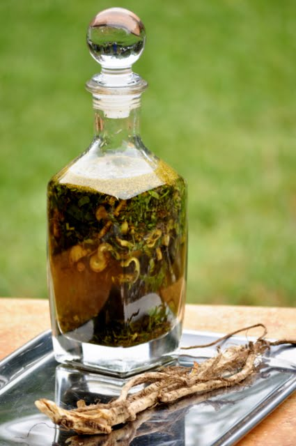 Herbs infusing in alcohol