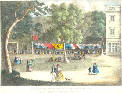 Sketch of the Fancy Fair, Sydney Gardens in bath 1836
