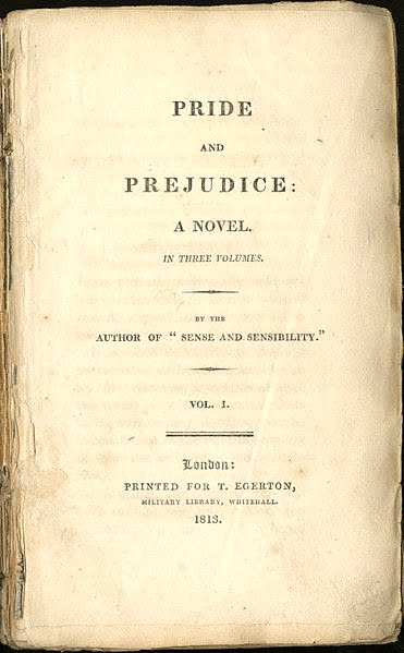 Title page of first edition of Pride and Prejudice Published 1813