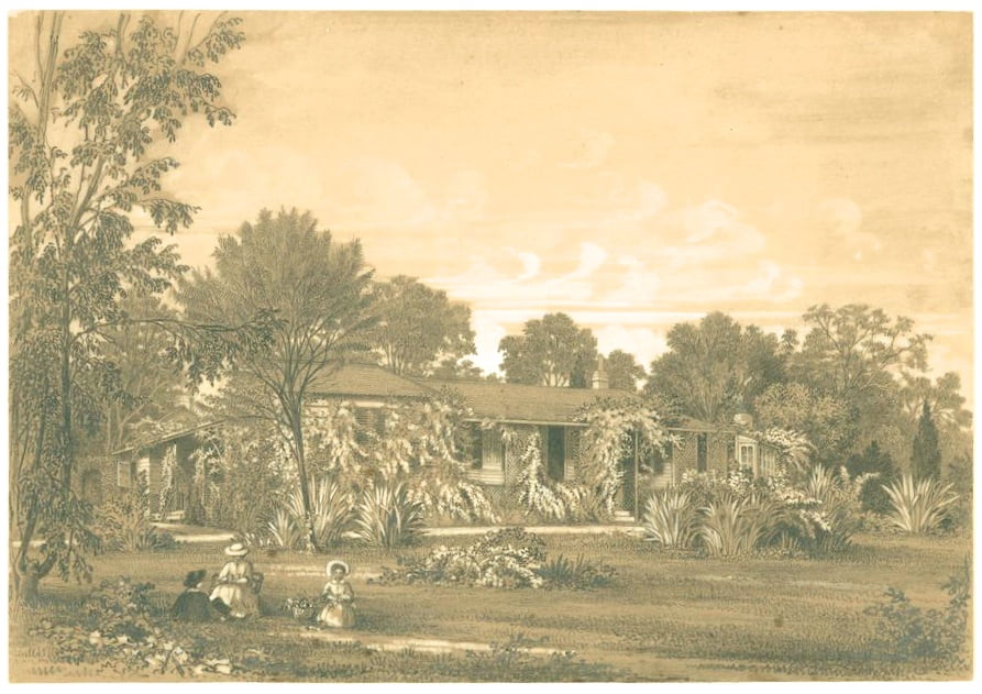 Edward La Trobe Bateman, 1816-1897, artist Front view of Jolimont Pencil and Chinese white on brown paper, c. 1852-1854 La Trobe Picture Collection, State Library of Victoria, H98.135/22