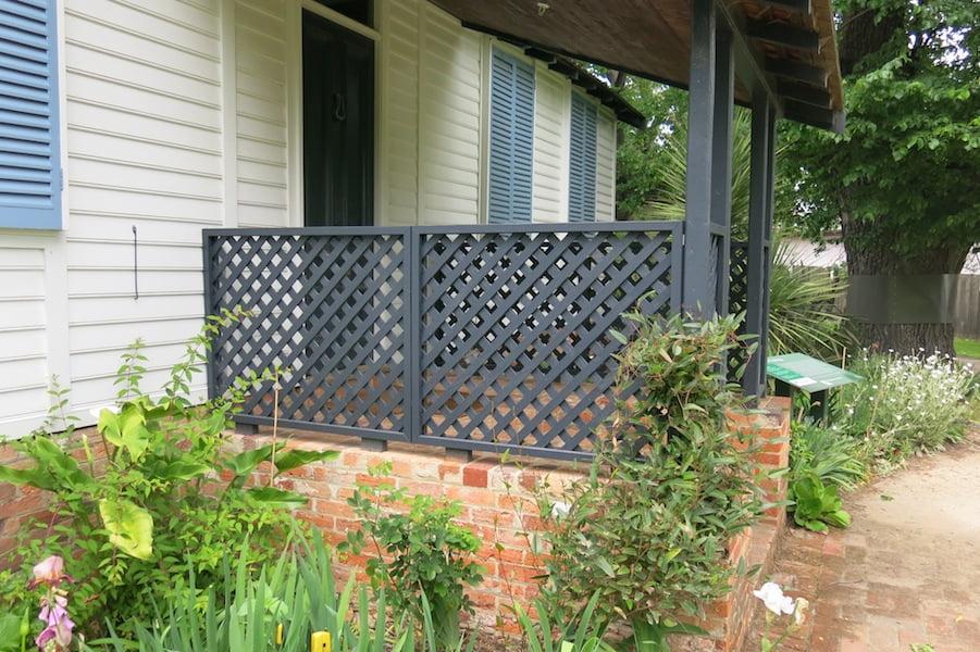 The restored lattice on La Trobe's Cottage