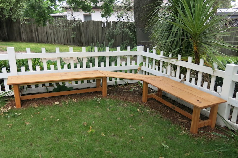 The new timber bench crafted by Alastair Boell