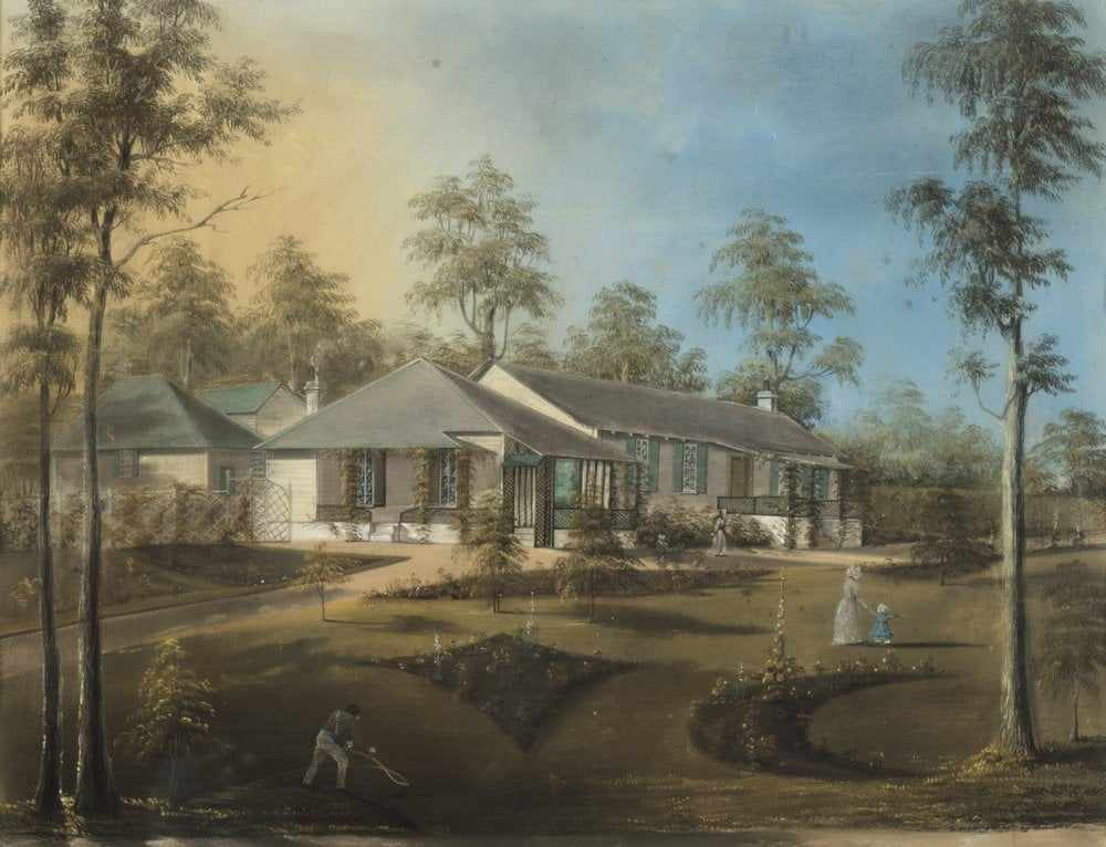 George Alexander Gilbert, 1815-1877, artist  View of Jolimont, Melbourne, Port Phillip 1843-44  Pastel on paper, 1844 La Trobe Picture Collection, State Library of Victoria, H28142
