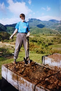 Turning the raised beds in 1996