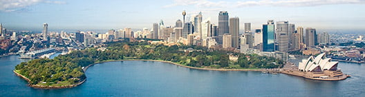 Aerial photography of the Royal Botanic Gardens, Sydney