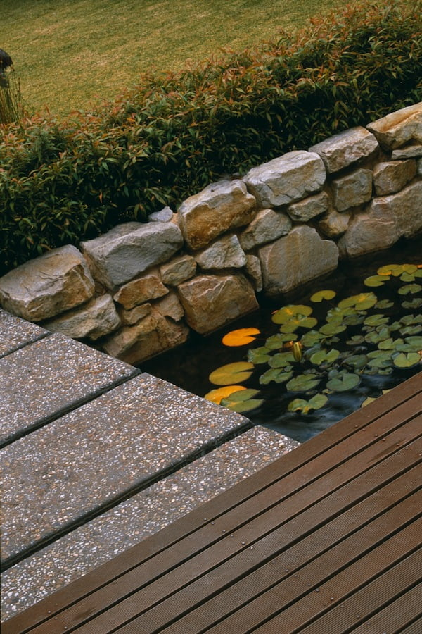 Composition of timber, stone and water