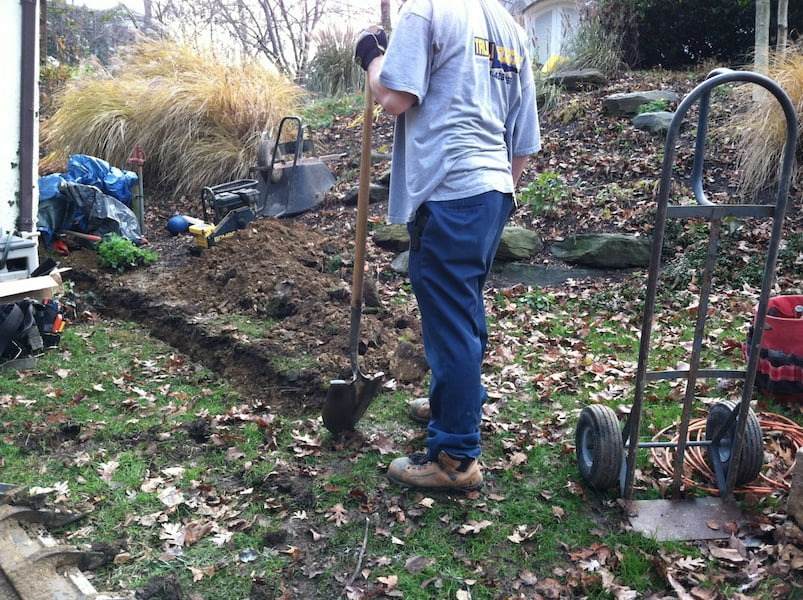 Trenching for the electrical conduit