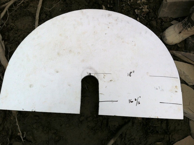 The stone mason's template for cutting the turn