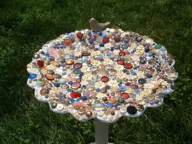 Birdbath with button mosaic