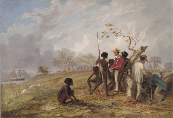 Thomas Baines with Aborigines near the mouth of the Victoria River N.T 1857