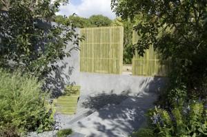 Bamboo screens. Design Paul Hervey-Brookes. Gardening World Cup 2014