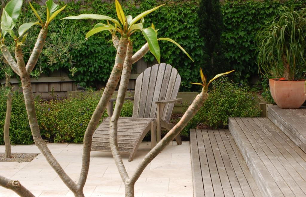 Melbourne Garden DesignFest 2014. Garden design by Stephen Read. Chair and plumeria