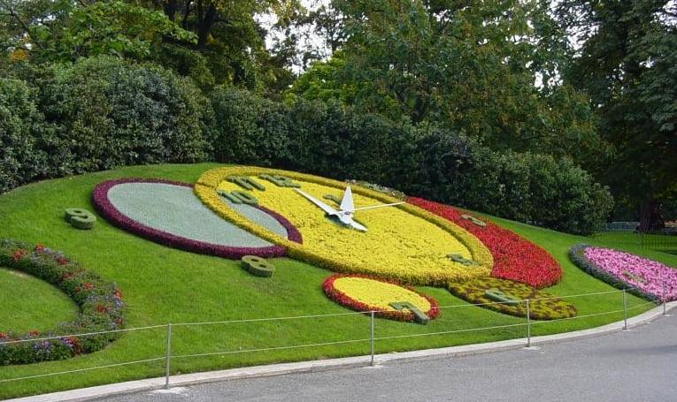 Floral Clock in Geneva, Switzerland. Photo by Kerschbaumer's 2007
