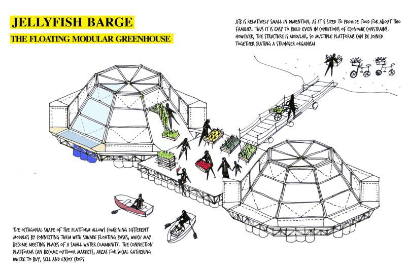 Jellyfish Barge StudioMobile. Design Antonio Girardi and Cristiana Favretto