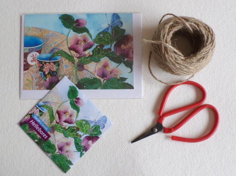Sarah's Garden hellebore card and seed packet Gabby Malpas