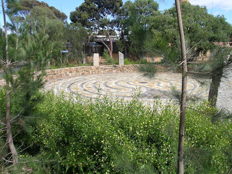 Indigenous planting surrounds the labyrinth