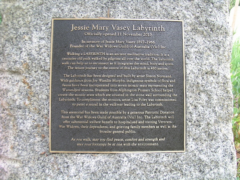 Jessie Mary Vasey Labyrinth plaque