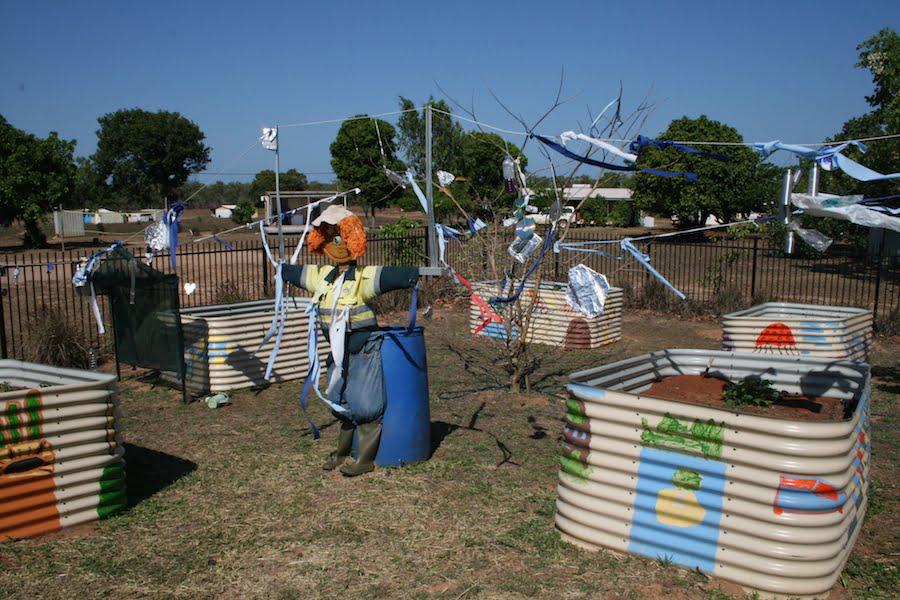 Baniyala 'Bob' Scarecrow  made from recycled materials at Garrangali Homeland School EduGrow 2014