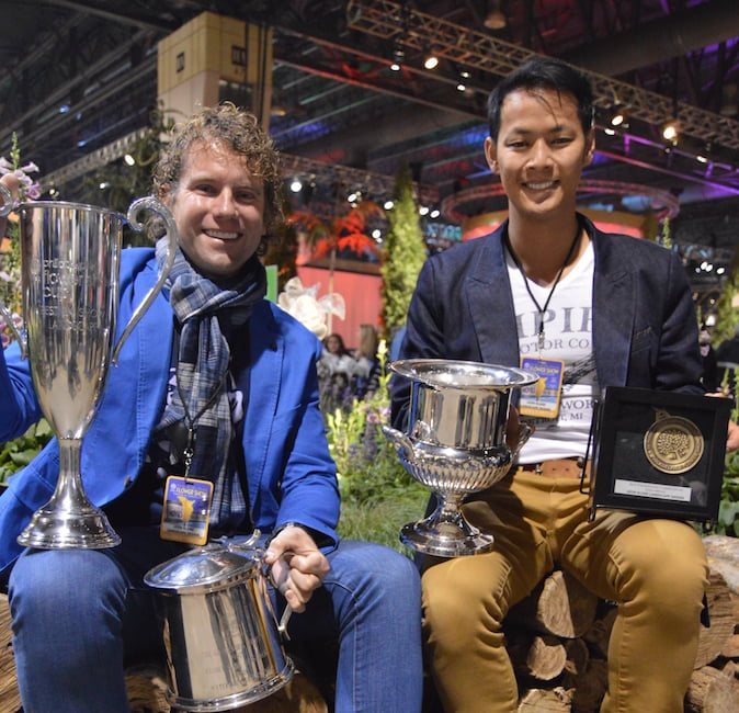 Leon Kluge and Bayley LuuTomes celebrating Best in Show Landscape for 'A Maleficent View' Design Leon Kluge at Philadelphia Flower Show 2015