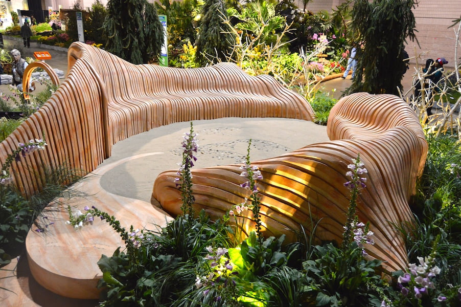 Sculpted seating in 'A Maleficent View' Design Leon Kluge. Philadelphia Flower Show 2015