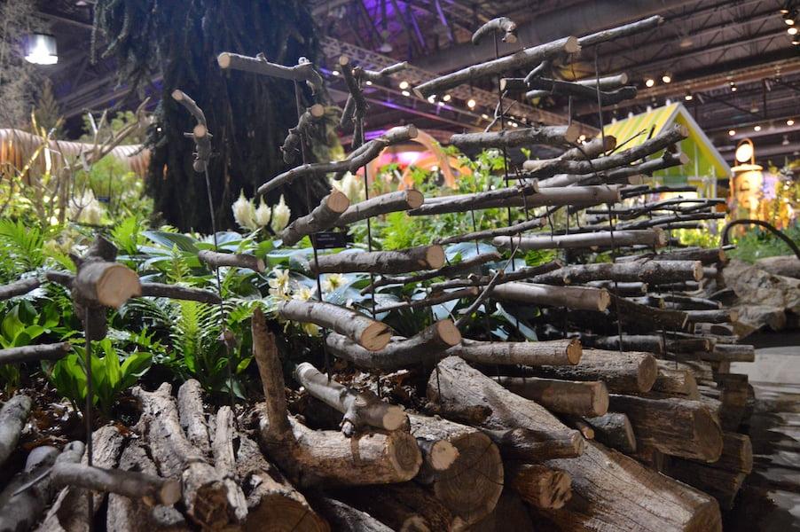 Sticks floating sculpture for 'A Maleficent View' Design Leon Kluge. Best in Show Landscape Philadelphia Flower Show 2015