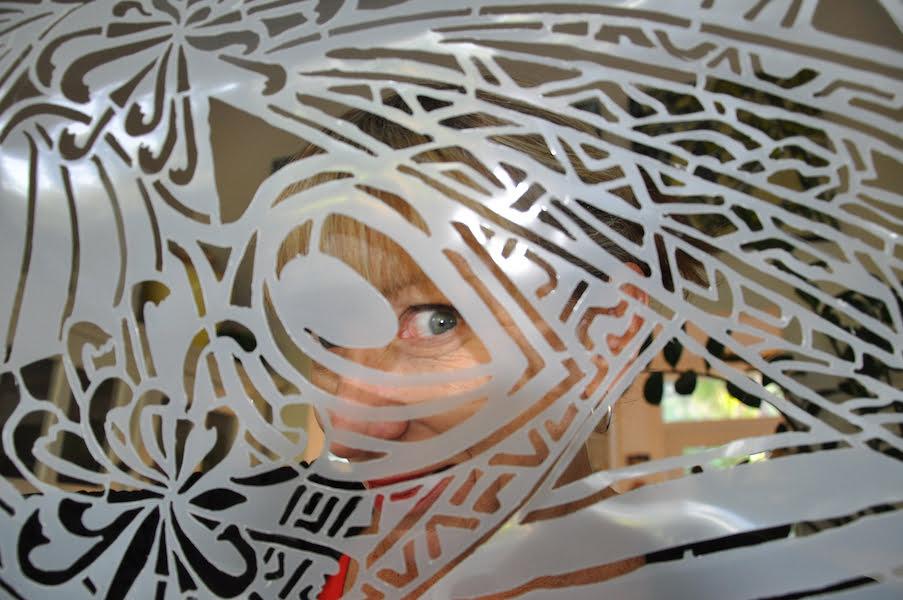 Julie Hickson with a pochoir stencil